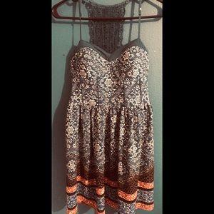 Blue floral boho crochet back dress with pockets